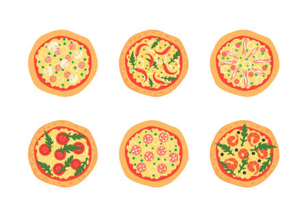 toppings: Pizzas with different toppings including Margherita, shrimp, bacon, onion, tomatoes. Top view. illustration. Cartoon stylized Illustration