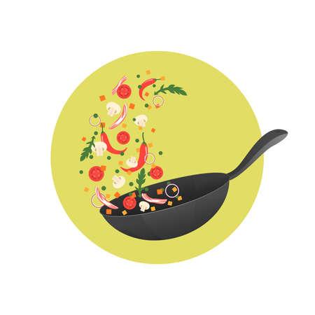 Ilustración proceso de cocción. Voltear la comida asiática en una sartén. estilo de dibujos animados Foto de archivo - 64142155