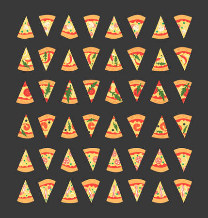 toppings: Set of pizza slices with different toppings including shrimps, chili pepper, mushrooms, bacon, cheese, onion, tomatoes, salami. illustration. Cartoon style