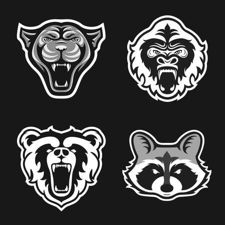 Set of logos for sport team. Panthers, Gorillas, Bears, Raccoons. Animal mascot logotype. Template. Vector illustration. Flat style Illustration