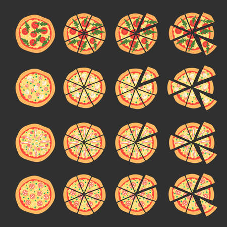 margherita: Set with different varieties of pizza. Cut slices. Margherita, shrimp, bacon, onion, tomatoes. Top view. Vector illustration. Cartoon stylized