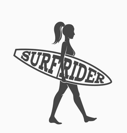 Woman goes surfing with surfboard. Surf rider logo. Vector illustration. Flat Vectores