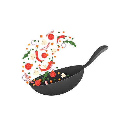 Cooking process vector illustration. Flipping Asian food in a pan. Cartoon style. Flat
