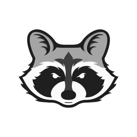Raccoons head logo per club sportivo o team. Logotype della mascotte animale. Modello. Illustrazione vettoriale. Stile piatto