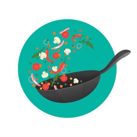 Koken proces vector illustratie. Flits Aziatisch eten in een pan. Cartoon stijl. Vlak