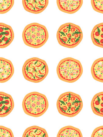margherita: Seamless pattern with different pizza including margherita, pepperoni, shrimp, onion, chili pepper, bacon, tomatoes. Vector background. Cartoon stylized Illustration