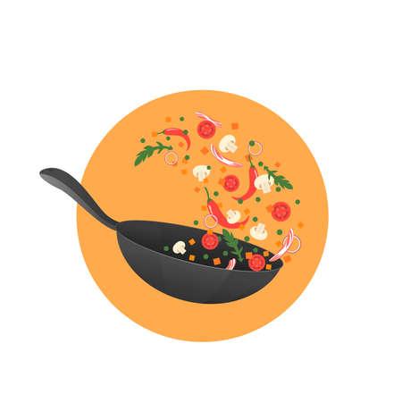 Koken proces vectorillustratie. Aziatisch eten in een pan omdraaien. Cartoon stijl Stock Illustratie