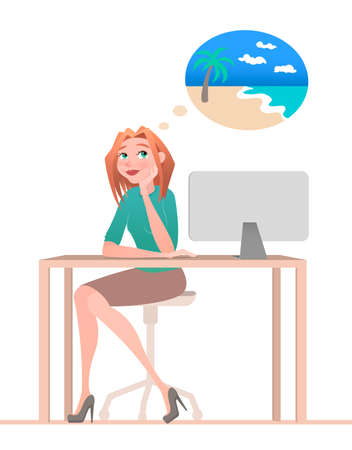 Young woman sitting in chair and dreaming about vacation on the island. Working. Cartoon style