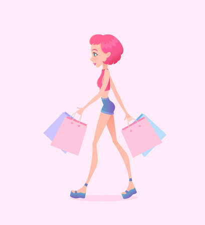 Young hipster girl going down the street with shopping bags. Vector illustration. Design template. Cartoon style Illustration