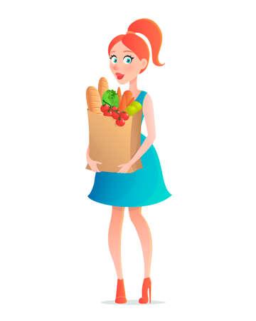 ilustración vectorial de una mujer joven bolsa de papel de comestibles de la explotación agrícola. Muchacha con los vehículos en el supermercado. Personaje en estilo de dibujos animados Vectores