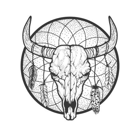Bull skull with feathers native Americans tribal style. Dotted Tattoo blackwork. Vector hand drawn illustration. Boho design Ilustração