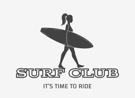 Woman goes surfing with surfboard. Surf vintage logo. Vector illustration. Flat