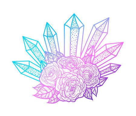 rose tattoo: Blackwork tattoo of rose and crystals bouquet. Very detailed vector illustration. Boho design for print, posters, t-shirts. Hand drawn Illustration