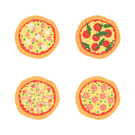 margherita: Pizzas with different toppings including Margherita, bacon, onion, tomatoes. Top view. Vector illustration. Cartoon stylized