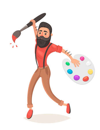 Hipster men with big paint brush and palette. Jumping. Creative thinking. Concept idea. Designer. Vector illustration in cartoon style
