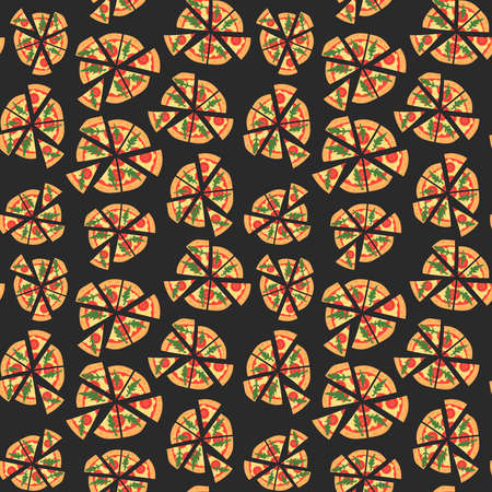 margherita: Vector texture of pattern with margherita pizza. Slices in a flat style. Seamless background. Cartoon style
