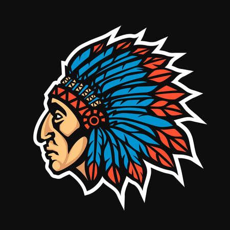 Native American Indian Chief head profile. Mascot sport team logo. Vector illustration logotype