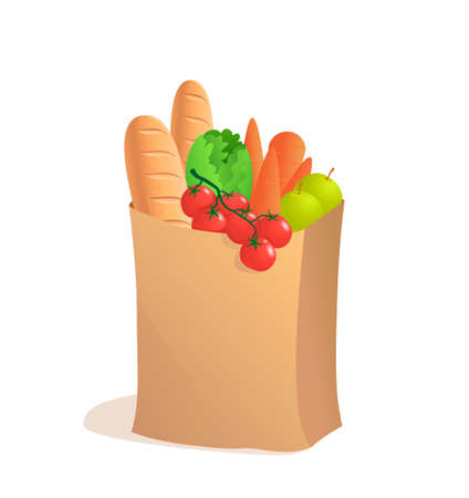 apple paper bag: Full paper bag with food. Vector illustration in cartoon style. Groceries. Bread apple and carrot
