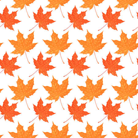 catroon: Seamless pattern with autumn maple foliage. Creative vector illustration. Catroon style