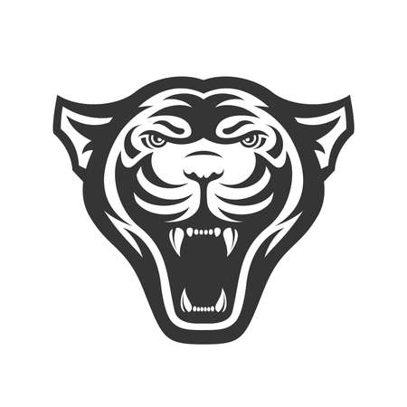 Panthers head logo for sport club or team. Animal mascot logotype. Template. Vector illustration. Flat style
