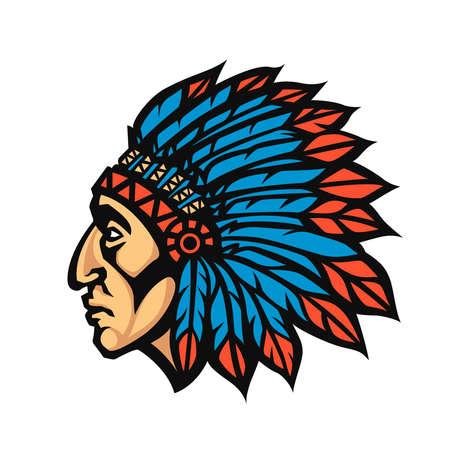 Native American Indian profil de la tête en chef. Mascot logo de l'équipe de sport. Vector illustration logotype Logo