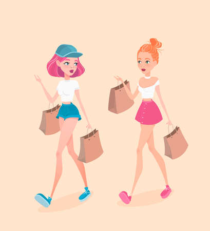 Two young hipster girls going down the street, with shopping bags and talking with each other. Vector illustration in cartoon style. Illustration