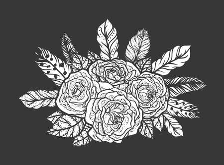 rose tattoo: Blackwork tattoo of rose and feathers bouquet. Very detailed vector illustration. Boho design for print, posters, t-shirts. Hand drawn