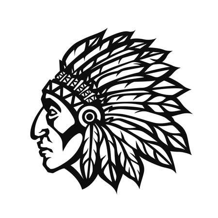 ネイティブ アメリカン インディアン チーフ頭プロファイル。マスコット スポーツ チームのロゴ。ベクトル図のロゴタイプ
