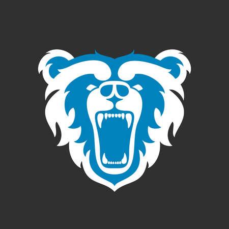 match head: Bear Logo for sport club or team. Animal mascot head logotype. Template. Vector illustration. Flat style