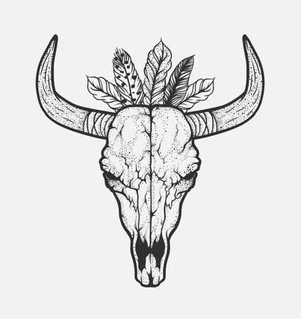 Bull skull with feathers native Americans tribal style. Dotted Tattoo blackwork. Vector hand drawn illustration. Boho design Illustration