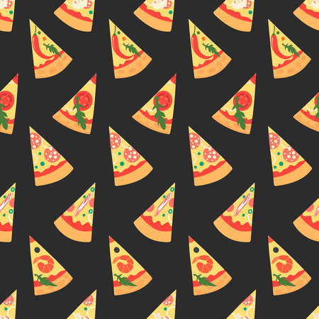 margherita: Set of pizza slices with different toppings including shrimps, chili pepper, mushrooms, bacon, cheese, onion, tomatoes, salami. Vector illustration. Seamless pattern. Cartoon style