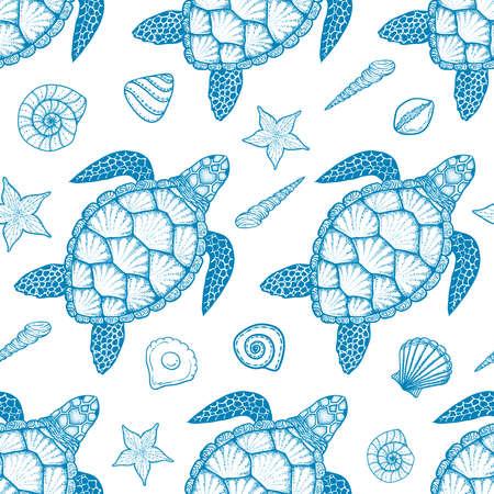 Nahtlose Muster mit Meeresschildkröte und Muscheln in Linie Kunststil. Handgezeichnete Vektor-Illustration. Ansicht von oben. Design für Malbuch. Ozeanelemente Standard-Bild - 68904402