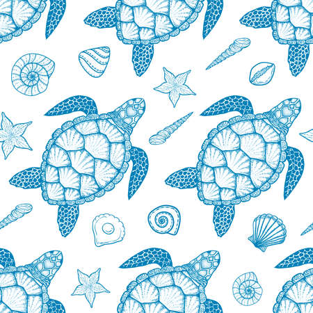 Seamless pattern with sea turtle and shells in line art style. Hand drawn vector illustration. Top view. Design for coloring book. Ocean elements