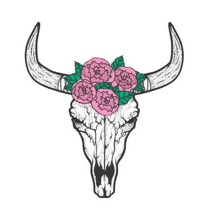 Bull skull with roses native Americans tribal style. Dotted Tattoo blackwork. Vector retro hand drawn illustration. Boho design Illustration