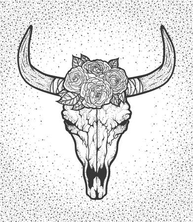 Bull skull with roses native Americans tribal style. Dotted Tattoo blackwork. Vector retro hand drawn illustration. Boho design Ilustração