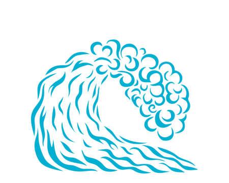 Vector illustration of blue wave. Logo design. Surfing. Silhouette Illustration