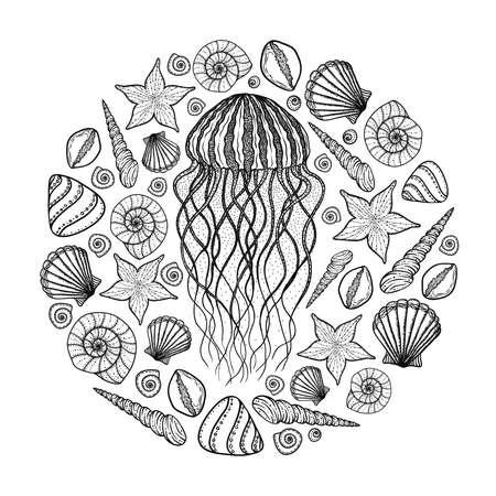 Medusas Y Conchas En Estilo De Línea De Arte. Ilustración Vectorial ...