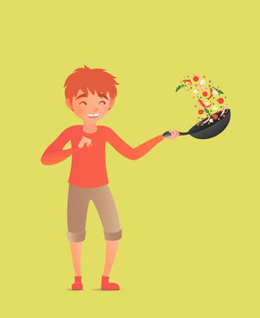 Child tossing vegetables in a wok. Flipping food in a pan. Vector illustration. Cute boy