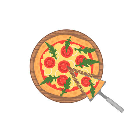 margherita: Margherita pizza on wooden board on white. Slice with melting cheese. Vector illustration. Cartoon style.