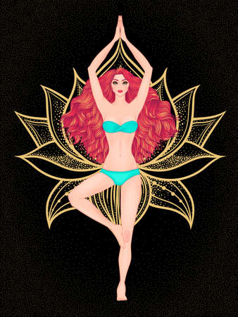 om: Yoga woman vector illustration. Pose Vrikshasana. Girl Meditation. Hand drawn