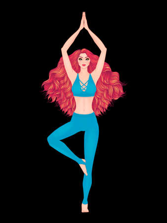 aum: Yoga woman vector illustration. Pose Vrikshasana. Girl Meditation. Hand drawn