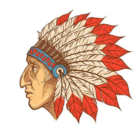 Native American chef indien profil de tête. Vector vintage illustration. Hand drawn style. tatouage Blackwork. élément Bohemian