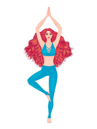 yoga meditation: Yoga woman vector illustration. Pose Vrikshasana. Girl Meditation. Hand drawn