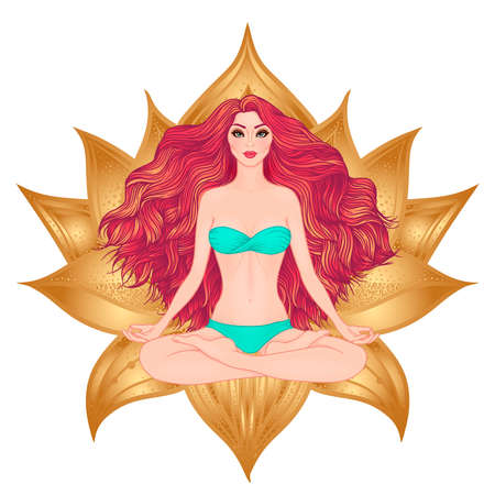 sacral: Hand drawn vector illustration of woman sitting in lotus pose of yoga. Meditation concept. Character