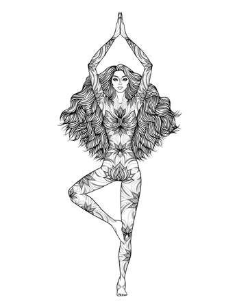Yoga woman vector illustration. Pose Vrikshasana. Girl Meditation. Hand drawn