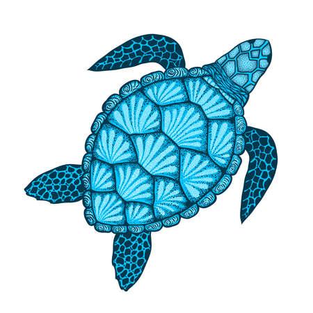 Zeeschildpad in lijnstijl. Hand getrokken vectorillustratie. Bovenaanzicht. Ontwerp voor kleurboek.