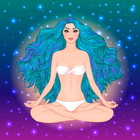 Hand drawn vector illustration of woman sitting in lotus pose of yoga. Meditation concept. Character