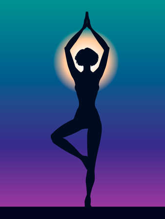 Silhouette of woman vector illustration. Pose Vrikshasana. Girl Meditation yoga. Hand drawn