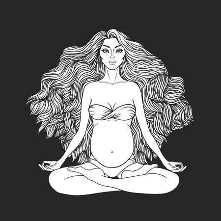 Hand drawn vector illustration of pregnant woman sitting in lotus pose yoga. Meditation