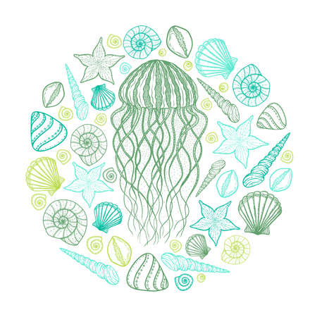 Jellyfish and shells in line art style. Hand drawn vector illustration. Design for coloring book. Set of ocean elements. Outline